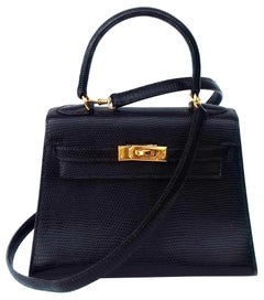 Hermès Mini Kelly Bag Vintage Black Lizard Gold Hdw 20 cm