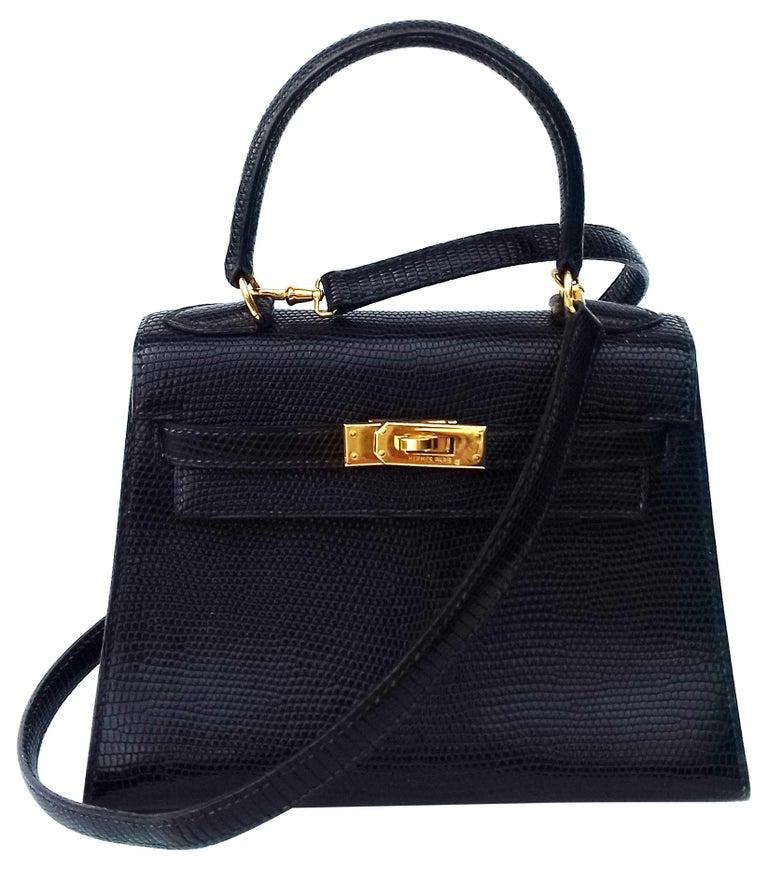 Hermès Mini Kelly Bag Vintage Black Lizard Gold Hdw 20 cm