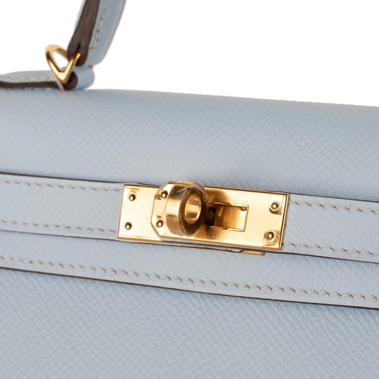 Gray Hermès Mini Kelly II Blue Brume Epsom Leather Gold Hardware For Sale