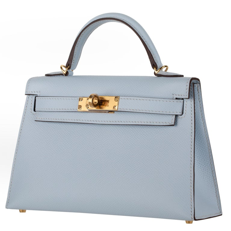 Hermès Mini Kelly II Blue Brume Epsom Leather Gold Hardware In New Condition For Sale In Sydney, New South Wales