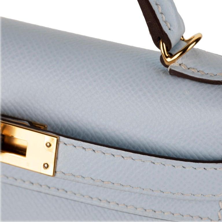 Women's or Men's Hermès Mini Kelly II Blue Brume Epsom Leather Gold Hardware For Sale