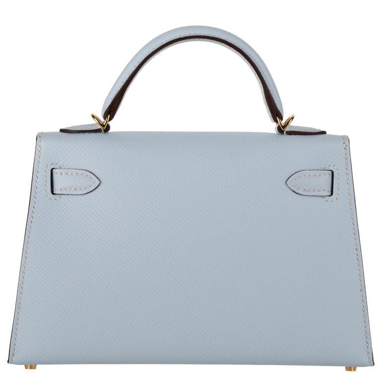 Hermès Mini Kelly II Blue Brume Epsom Leather Gold Hardware For Sale 1