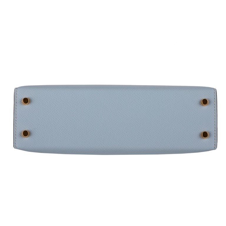 Hermès Mini Kelly II Blue Brume Epsom Leather Gold Hardware For Sale 2