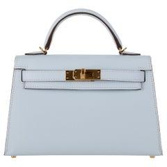 Hermès Mini Kelly II Blue Brume Epsom Leather Gold Hardware