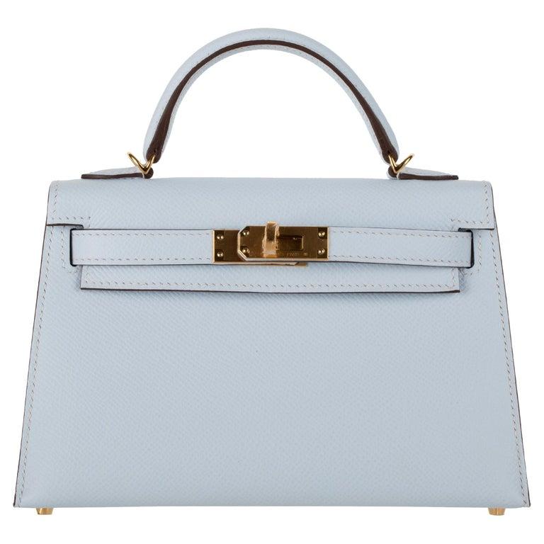 Hermès Mini Kelly II Blue Brume Epsom Leather Gold Hardware For Sale