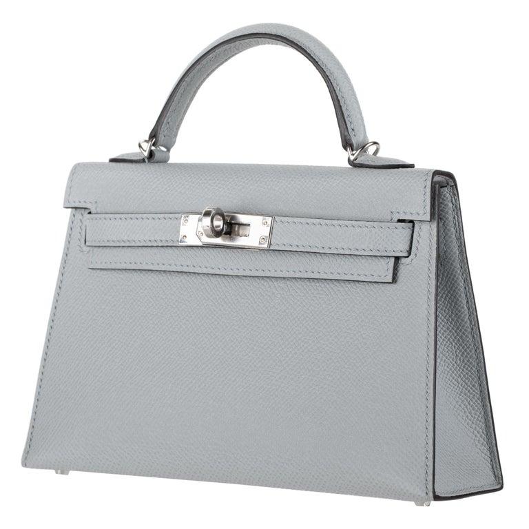 Gray Hermès Mini Kelly II Blue Glacier Epsom Leather Palladium Hardware For Sale