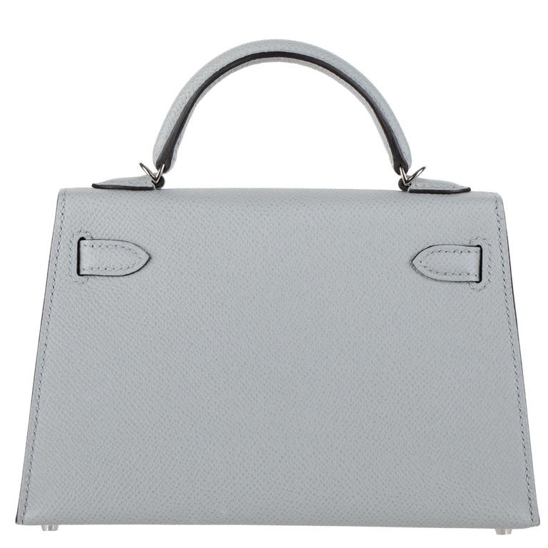 Hermès Mini Kelly II Blue Glacier Epsom Leather Palladium Hardware In New Condition For Sale In Sydney, New South Wales
