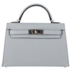 Hermès Mini Kelly II Blue Glacier Epsom Leather Palladium Hardware
