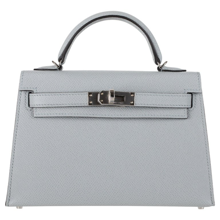 Hermès Mini Kelly II Blue Glacier Epsom Leather Palladium Hardware For Sale