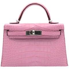 1stdibs Exclusives Hermès Mini Kelly II Bubblegum Matte Alligator Palladium