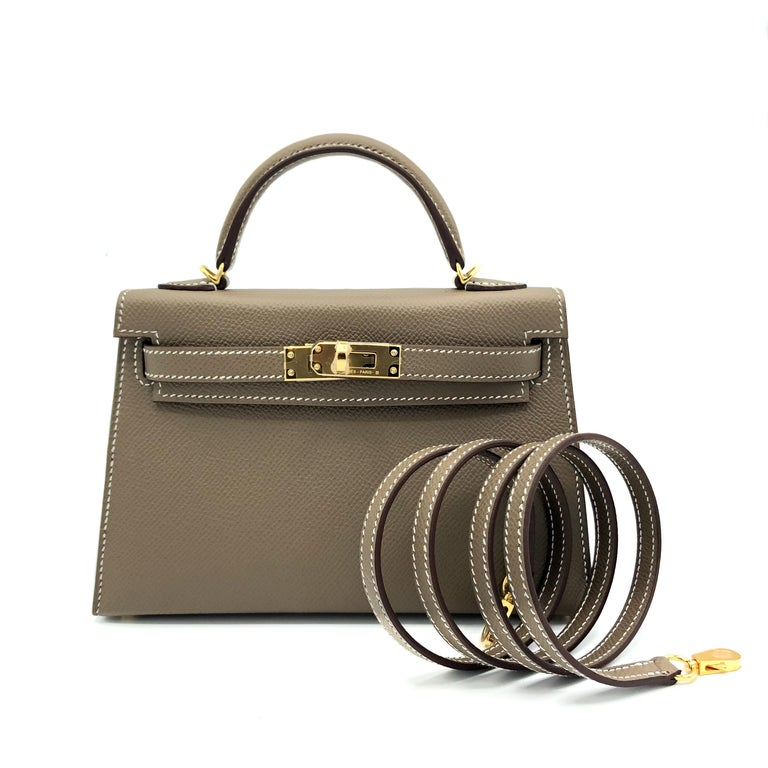 Hermès Mini Kelly II Etoupe Epsom Leather Gold Hardware In New Condition For Sale In Jakarta, IN