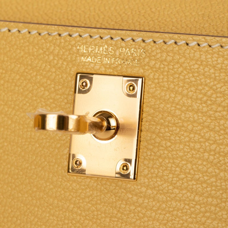 Hermès Mini Kelly II Foin Chevre Leather Gold Hardware In New Condition For Sale In Sydney, New South Wales