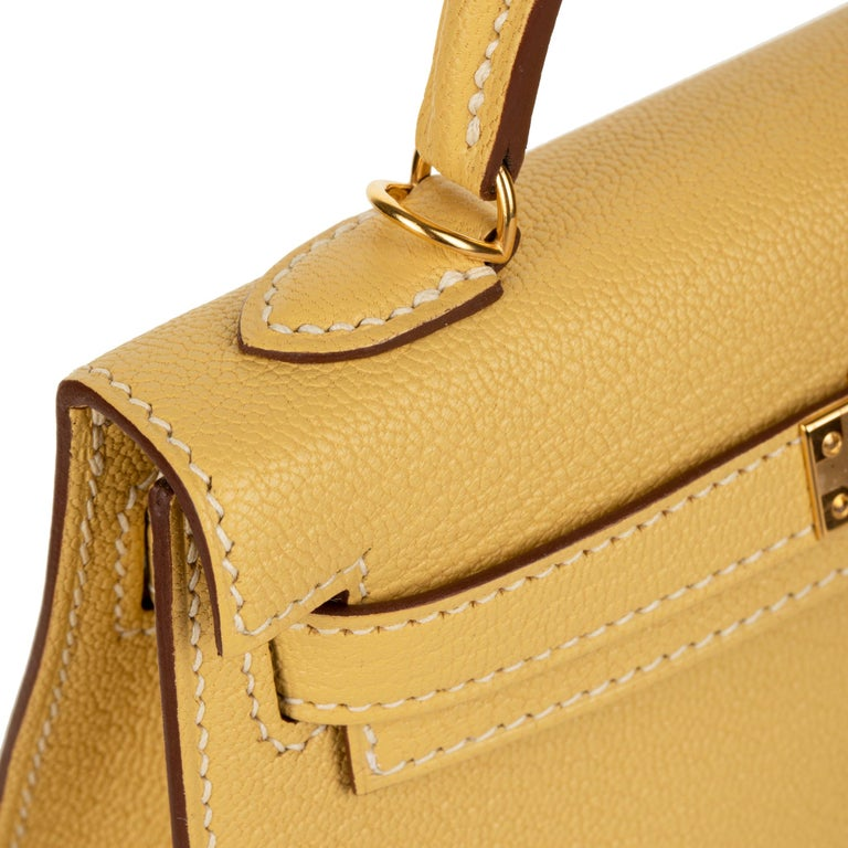 Hermès Mini Kelly II Foin Chevre Leather Gold Hardware For Sale 1