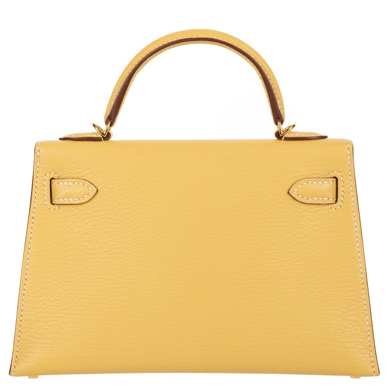 Hermès Mini Kelly II Foin Chevre Leather Gold Hardware For Sale 2