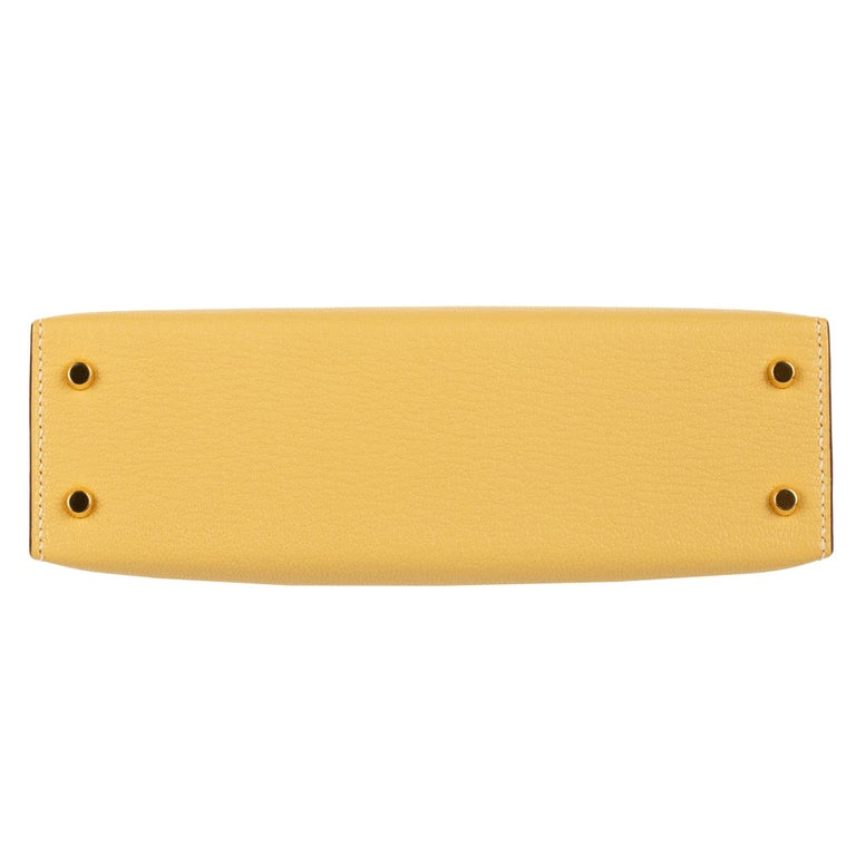 Hermès Mini Kelly II Foin Chevre Leather Gold Hardware For Sale 3