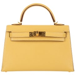 Hermès Mini Kelly II Foin Chevre Leather Gold Hardware