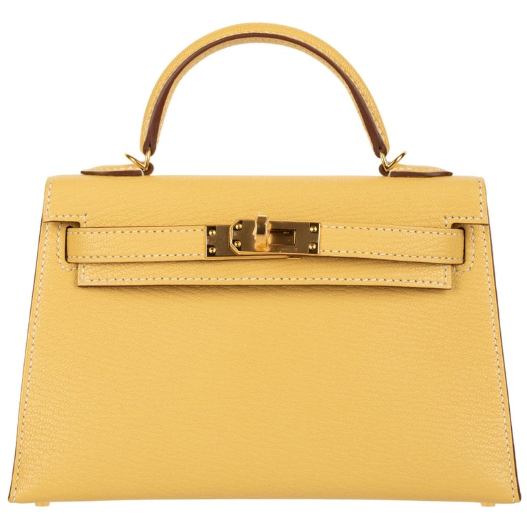 Hermès Mini Kelly II Foin Chevre Leather Gold Hardware For Sale