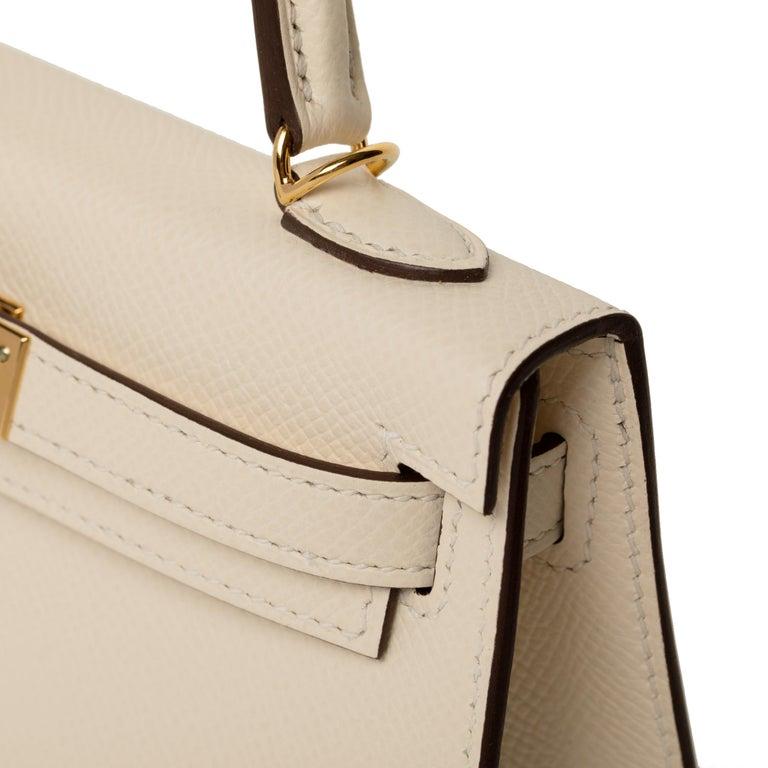 Women's or Men's Hermès Mini Kelly II Nata Epsom Leather Gold Hardware For Sale