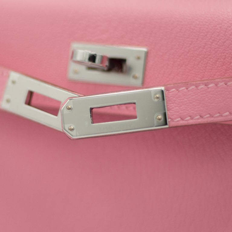 Pink Hermès Mini Kelly II Rose Confetti Chevre Leather Palladium Hardware For Sale