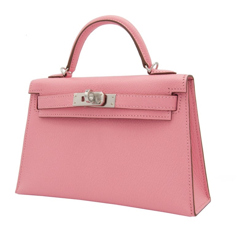 Hermès Mini Kelly II Rose Confetti Chevre Leather Palladium Hardware In New Condition For Sale In Sydney, New South Wales