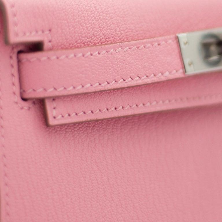 Women's or Men's Hermès Mini Kelly II Rose Confetti Chevre Leather Palladium Hardware For Sale