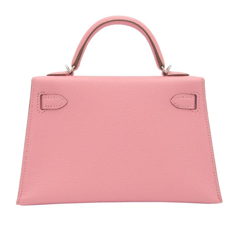Hermès Mini Kelly II Rose Confetti Chevre Leather Palladium Hardware For Sale 1