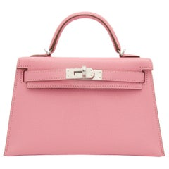 Hermès Mini Kelly II Rose Confetti Chevre Leather Palladium Hardware