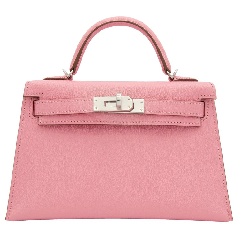 Hermès Mini Kelly II Rose Confetti Chevre Leather Palladium Hardware For Sale