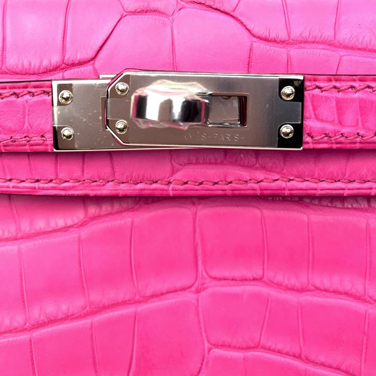 Brand: Hermès  Style: Mini Kelly II Size: 20cm Color: Rose Shocking Leather: Matte Alligator Hardware: Palladium Year: 2020 Y  Condition: Pristine, never carried: The item has never been carried and is in pristine condition complete with all