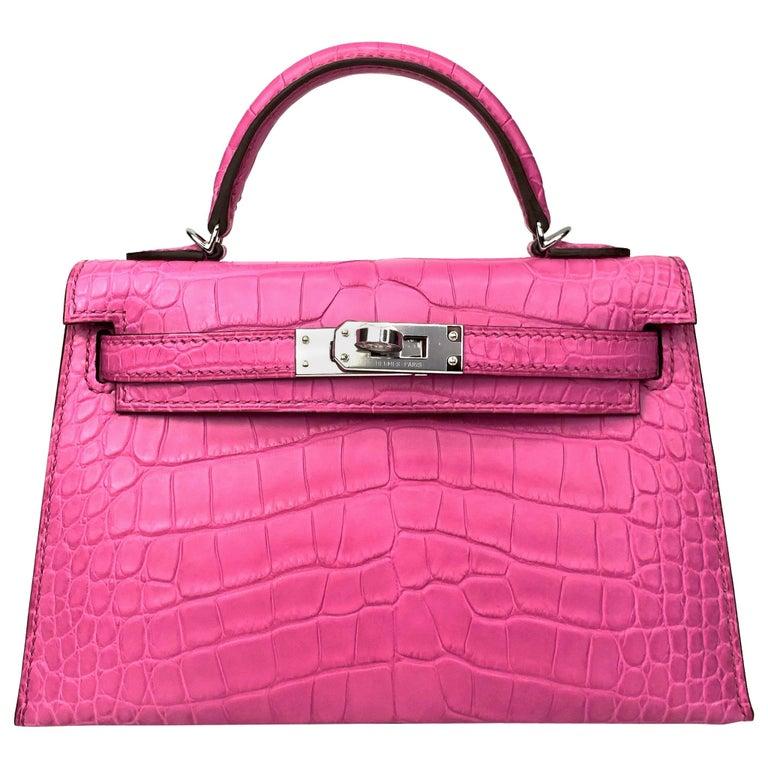 Hermès Mini Kelly II Rose Shocking Matte Alligator Palladium Hardware For Sale