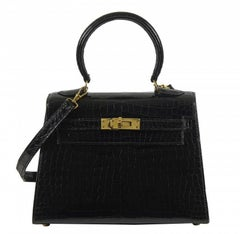 HERMES Mini Kelly Sellier Bag Noir Black Porosus Crocodile GHW 20 cm RARE