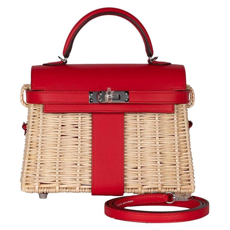 Hermes Mini Picnic Kelly Bag Rouge de Coeur 20cm For Sale