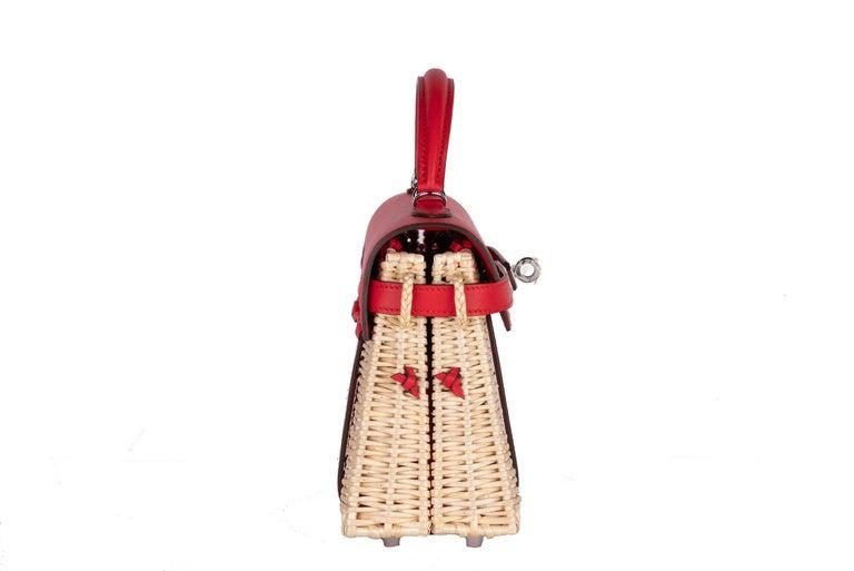 Hermes Mini Picnic Kelly Bag Rouge de Coeur 20cm For Sale 5