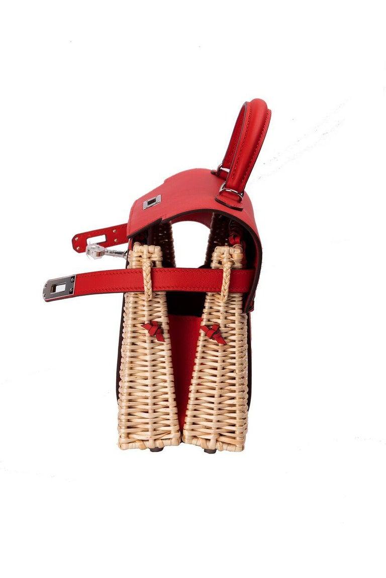 Hermes Mini Picnic Kelly Bag Rouge de Coeur 20cm For Sale 6
