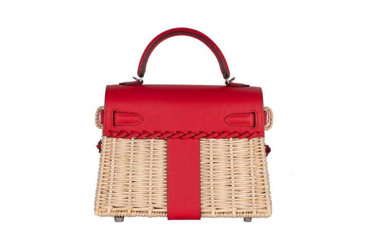 Red Hermes Mini Picnic Kelly Bag Rouge de Coeur 20cm For Sale