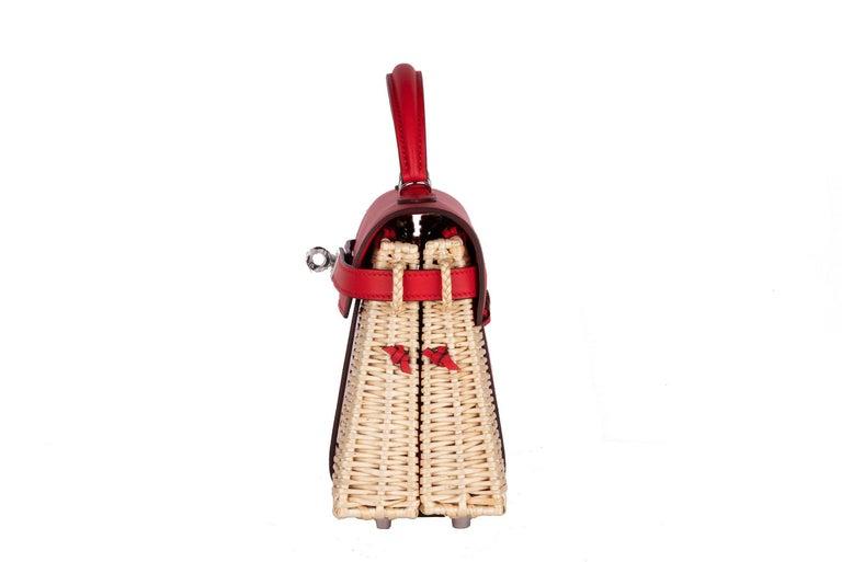 Hermes Mini Picnic Kelly Bag Rouge de Coeur 20cm For Sale 4