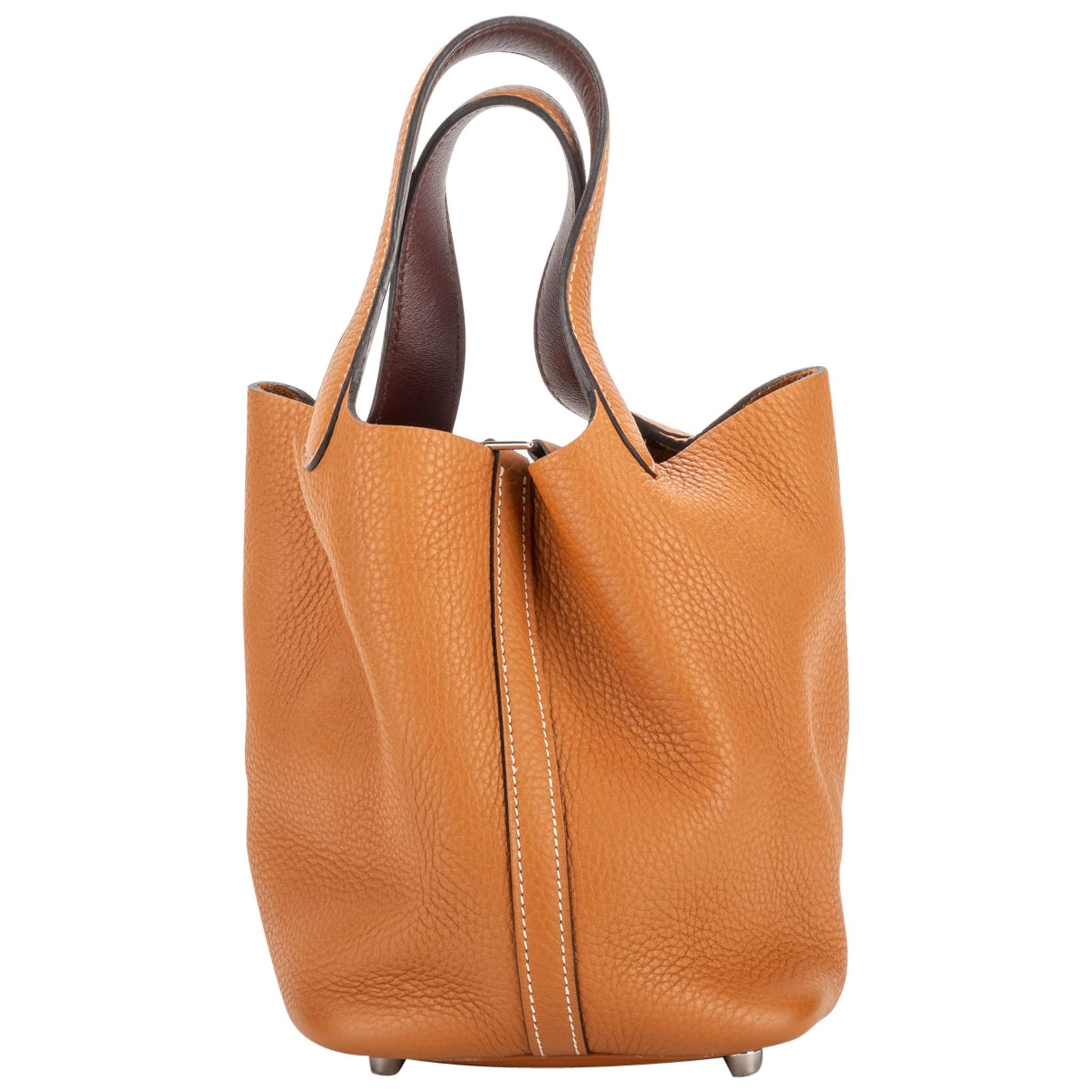 Hermes Mini Picotin Lock Gold Palladium Bag