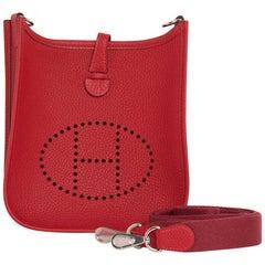 Hermes Mini Rouge Casaque Clemence Palladium Evelyne TPM Bag