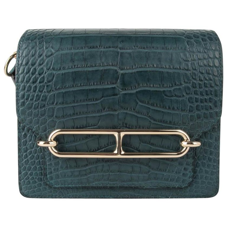 Hermes Mini Roulis Bag Vert Cypress Alligator (Convertible Shoulder / Crossbody) For Sale
