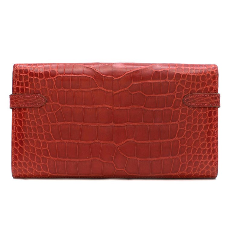 Red Hermes Mississippiensis Braise Kelly Classic Wallet For Sale