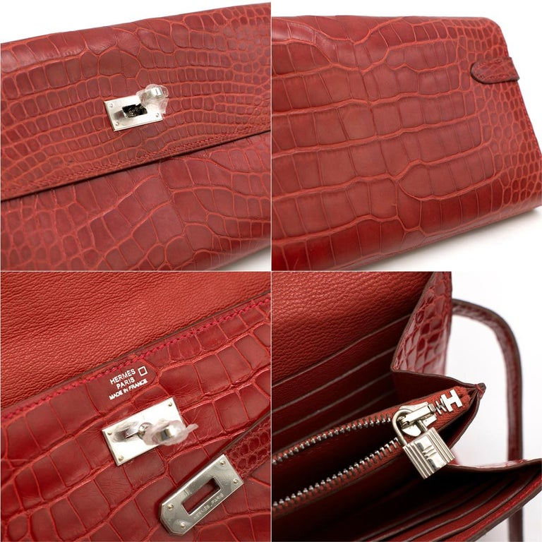 Hermes Mississippiensis Braise Kelly Classic Wallet For Sale 3