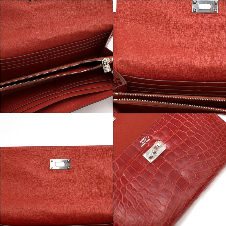 Hermes Mississippiensis Braise Kelly Classic Wallet For Sale 4