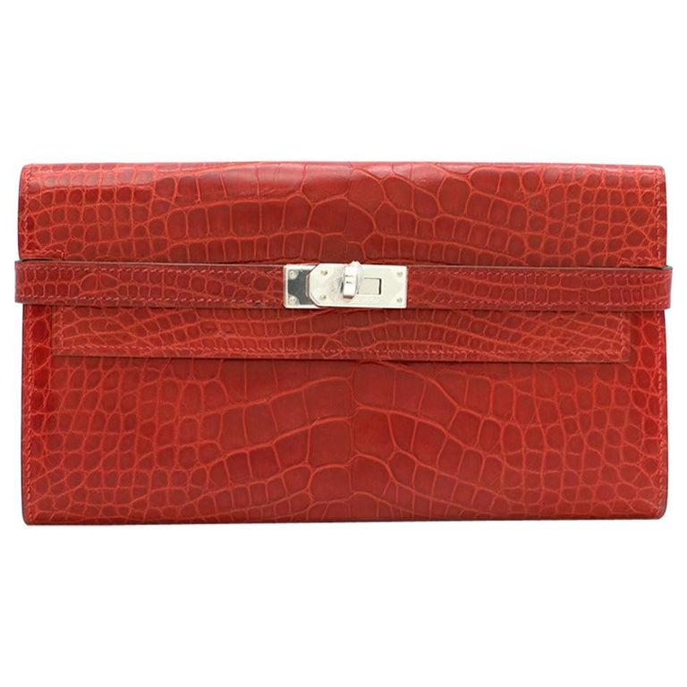 Hermes Mississippiensis Braise Kelly Classic Wallet For Sale