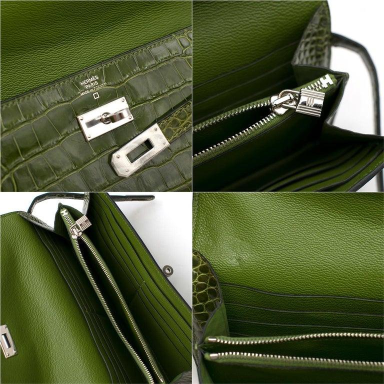 Hermes Mississippiensis Vert Veronese Kelly Classic Wallet 4