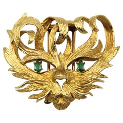 Hermes Mistigri Lion Cat Emerald 18k Yellow Gold Brooch