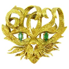 Hermès Mistigri Lion Cat Emerald Jean Cocteau Design 1960s Yellow Gold Brooch