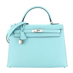 Hermes Model: Kelly Handbag Bleu Atoll Epsom with Palladium Hardware 32