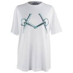 Hermes Mors Embroidered T-Shirt Blanc M Men's New w/Box