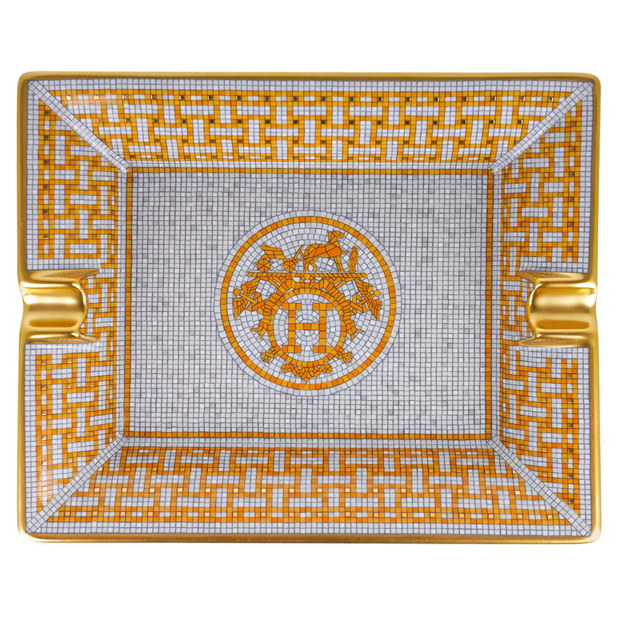 Hermes Mosaique Au 24 Gold Ashtray Limoges Porcelain Tray New w/Box