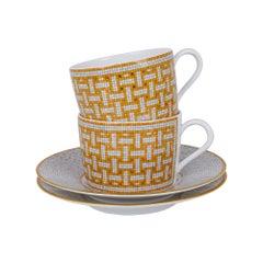 Hermes Mosaique Au 24 Gold Set of 10 Cups / Saucers New w/Box